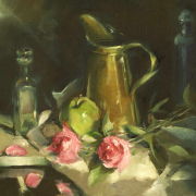Brass-pitcher-and-pink-roses